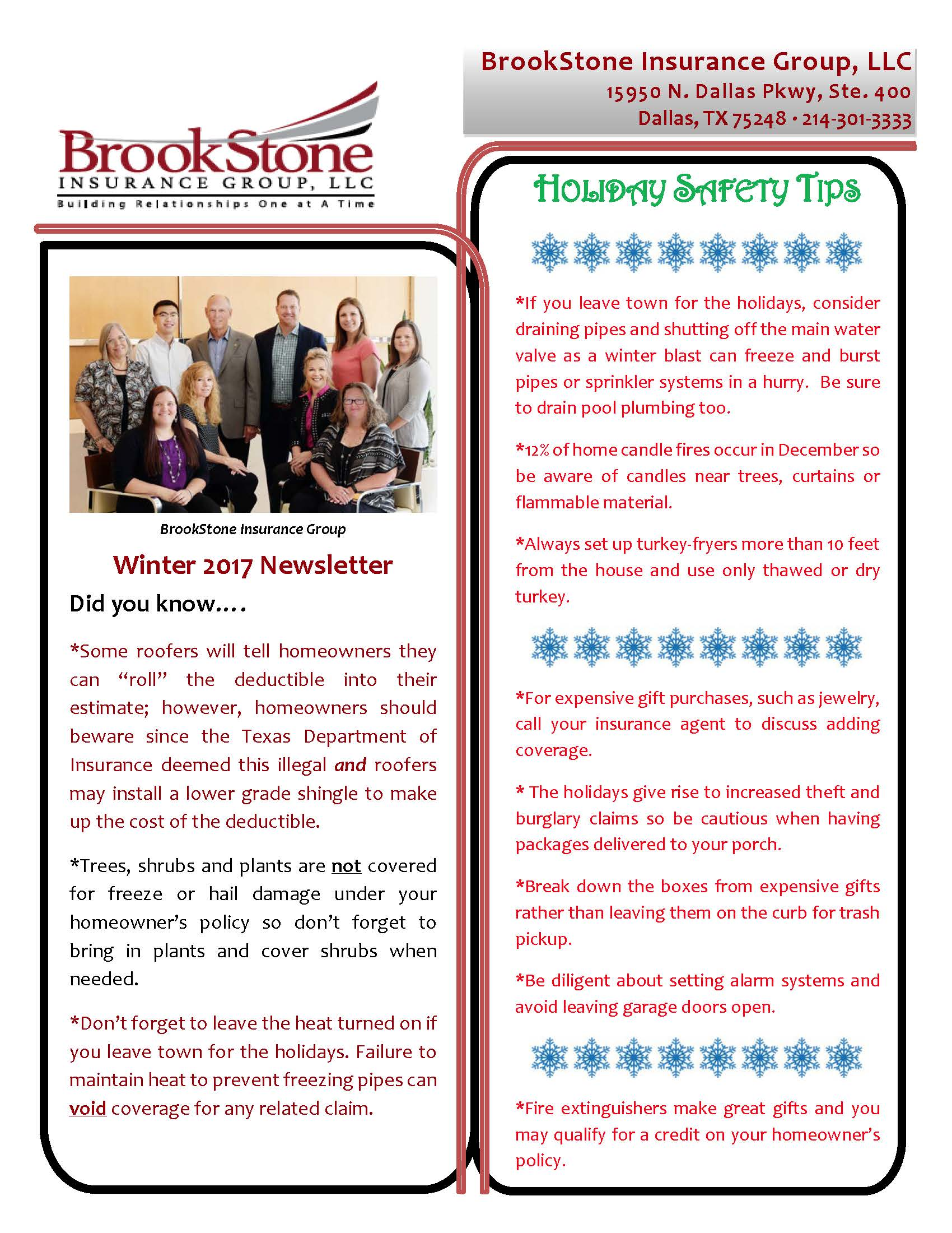 Holiday Safety Tips - BrookStone Insurance Group, LLC